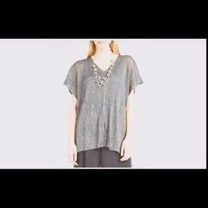 Eileen Fisher L Pressed Vicose Crinkle Top Silver